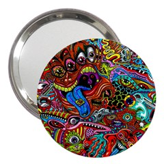 Art Color Dark Detail Monsters Psychedelic 3  Handbag Mirrors by BangZart