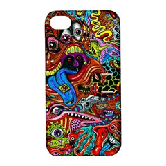 Art Color Dark Detail Monsters Psychedelic Apple Iphone 4/4s Hardshell Case With Stand by BangZart
