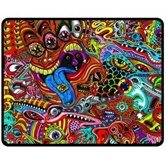 Art Color Dark Detail Monsters Psychedelic Double Sided Fleece Blanket (medium)
