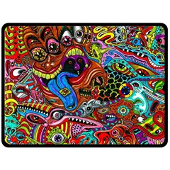 Art Color Dark Detail Monsters Psychedelic Double Sided Fleece Blanket (large)  by BangZart