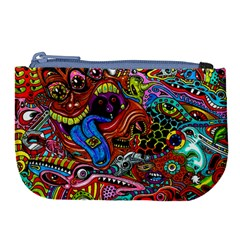 Art Color Dark Detail Monsters Psychedelic Large Coin Purse