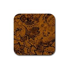 Art Traditional Batik Flower Pattern Rubber Coaster (square)  by BangZart