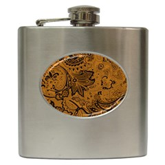 Art Traditional Batik Flower Pattern Hip Flask (6 Oz)