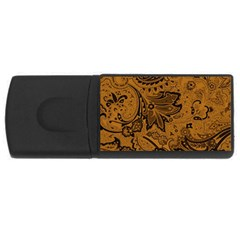 Art Traditional Batik Flower Pattern Rectangular Usb Flash Drive