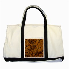 Art Traditional Batik Flower Pattern Two Tone Tote Bag