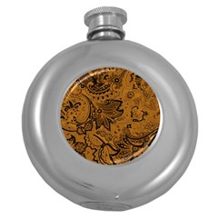 Art Traditional Batik Flower Pattern Round Hip Flask (5 Oz) by BangZart