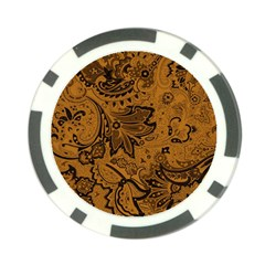 Art Traditional Batik Flower Pattern Poker Chip Card Guard (10 Pack) by BangZart