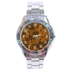 Art Traditional Batik Flower Pattern Stainless Steel Analogue Watch by BangZart