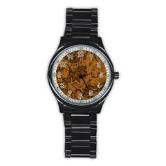 Art Traditional Batik Flower Pattern Stainless Steel Round Watch by BangZart