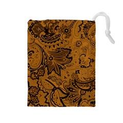 Art Traditional Batik Flower Pattern Drawstring Pouches (large)