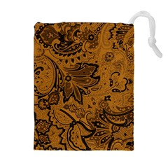 Art Traditional Batik Flower Pattern Drawstring Pouches (extra Large)