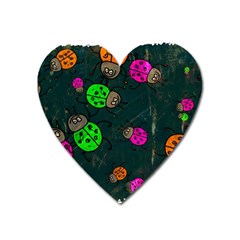 Abstract Bug Insect Pattern Heart Magnet by BangZart