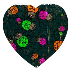 Abstract Bug Insect Pattern Jigsaw Puzzle (heart)