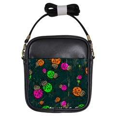 Abstract Bug Insect Pattern Girls Sling Bags by BangZart