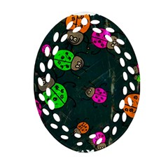 Abstract Bug Insect Pattern Oval Filigree Ornament (two Sides) by BangZart