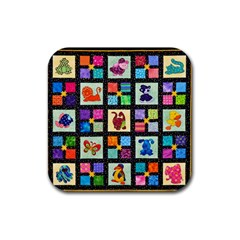 Animal Party Pattern Rubber Square Coaster (4 Pack)  by BangZart