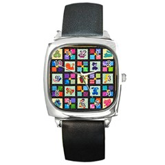 Animal Party Pattern Square Metal Watch by BangZart