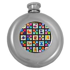 Animal Party Pattern Round Hip Flask (5 Oz)