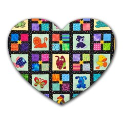 Animal Party Pattern Heart Mousepads