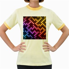 Abstract Small Block Pattern Women s Fitted Ringer T Shirts