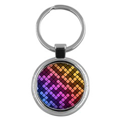Abstract Small Block Pattern Key Chains (round)  by BangZart
