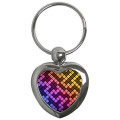 Abstract Small Block Pattern Key Chains (heart)  by BangZart