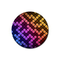 Abstract Small Block Pattern Rubber Round Coaster (4 Pack)  by BangZart