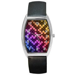 Abstract Small Block Pattern Barrel Style Metal Watch by BangZart