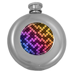 Abstract Small Block Pattern Round Hip Flask (5 Oz) by BangZart