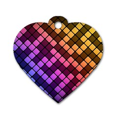 Abstract Small Block Pattern Dog Tag Heart (two Sides)