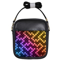 Abstract Small Block Pattern Girls Sling Bags by BangZart