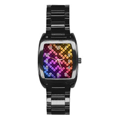 Abstract Small Block Pattern Stainless Steel Barrel Watch