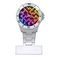 Abstract Small Block Pattern Plastic Nurses Watch