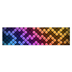 Abstract Small Block Pattern Satin Scarf (oblong)