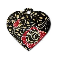 Art Batik Pattern Dog Tag Heart (one Side)