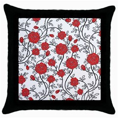 Texture Roses Flowers Throw Pillow Case (black) by BangZart
