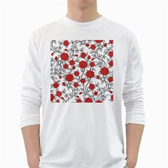 Texture Roses Flowers White Long Sleeve T Shirts