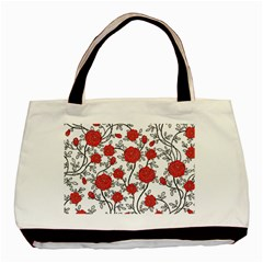 Texture Roses Flowers Basic Tote Bag by BangZart