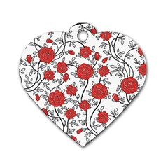 Texture Roses Flowers Dog Tag Heart (two Sides)