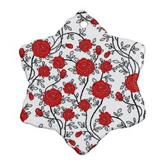 Texture Roses Flowers Snowflake Ornament (two Sides)
