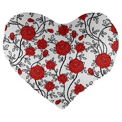 Texture Roses Flowers Large 19  Premium Heart Shape Cushions by BangZart