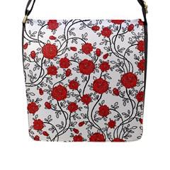 Texture Roses Flowers Flap Messenger Bag (l)  by BangZart