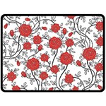 Texture Roses Flowers Double Sided Fleece Blanket (Large)  80 x60 Blanket Front