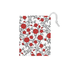 Texture Roses Flowers Drawstring Pouches (small)  by BangZart