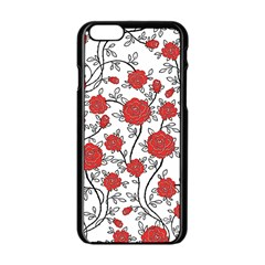 Texture Roses Flowers Apple Iphone 6/6s Black Enamel Case