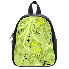 Flowers On A Green Background                            School Bag (small)