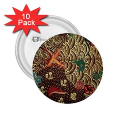 Art Traditional Flower  Batik Pattern 2 25  Buttons (10 Pack)  by BangZart