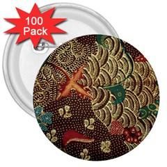 Art Traditional Flower  Batik Pattern 3  Buttons (100 Pack)  by BangZart