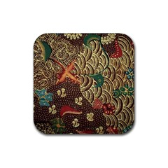Art Traditional Flower  Batik Pattern Rubber Square Coaster (4 Pack)  by BangZart