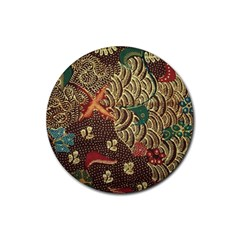 Art Traditional Flower  Batik Pattern Rubber Round Coaster (4 Pack)